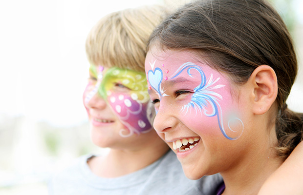 Children with their faces painted